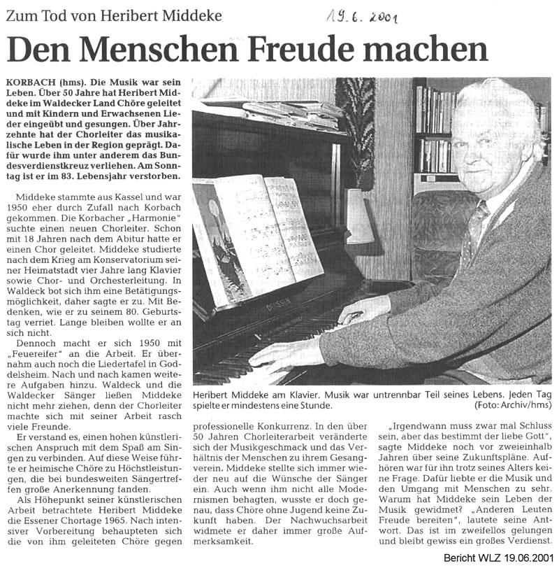 Heribert Middeke Pressebericht 2001